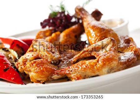 Grilled Chicken with Vegetables and Sauce - stock photo