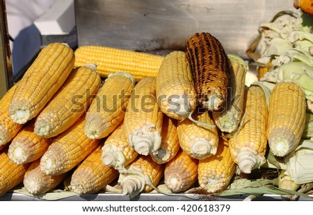 Grilled cobs for sale in a market stall - stock photo