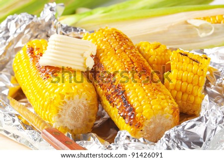 Grilled corn on the cob - stock photo