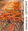 Grilled crayfishes on stove. Nice orange color of cooked prawn. Delicious meal with grilled crayfish. - stock photo