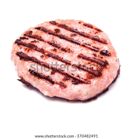 Grilled crocodile meat burgers isolated on a white studio background.