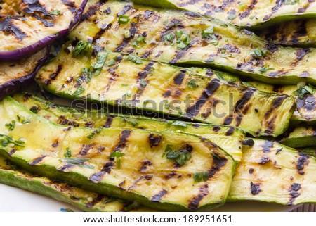 Grilled Eggplant and Zucchini Salad - stock photo