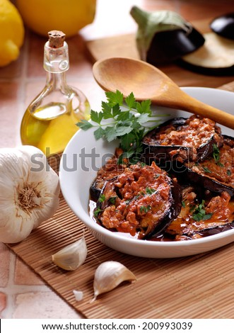 grilled eggplant with spices, traditional recipe of Morocco - stock photo
