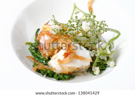 Grilled Fish Fillet with vegetable tempura - stock photo