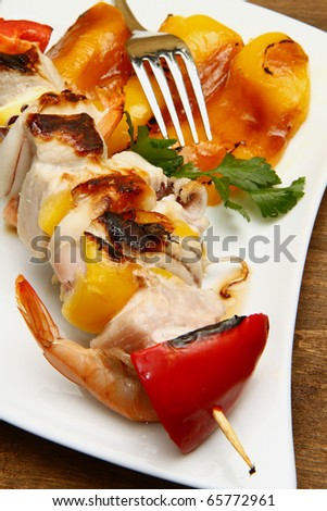grilled fish kebab with pepper