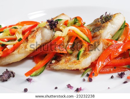Grilled Fish with Julienne Vegetable. Isolated on White Background - stock photo