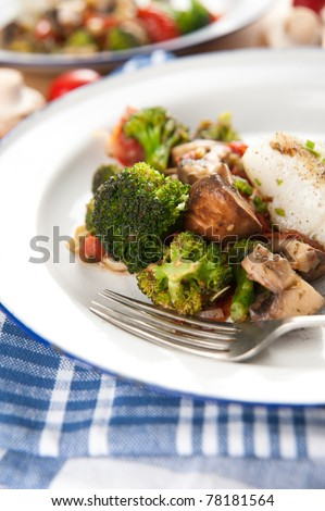 Grilled Fish with Various Vegetables - stock photo