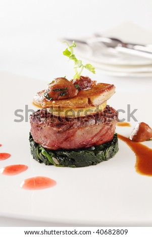Grilled foie gras, a delicious dish for dinner. - stock photo