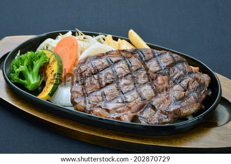 Grilled Foods - BBQ lamb fillet with teriyaki sauce with Vegetables-3 - stock photo