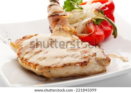 Grilled Foods - BBQ Pork with Stuffed Bell Pepper - stock photo