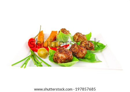 grilled french cutlets and sweet baked potatoes - stock photo
