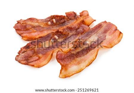 Grilled fresh bacon isolated on white background - stock photo