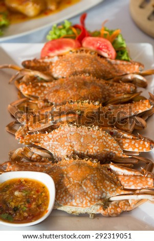 grilled fresh crab with seafood sauce, food