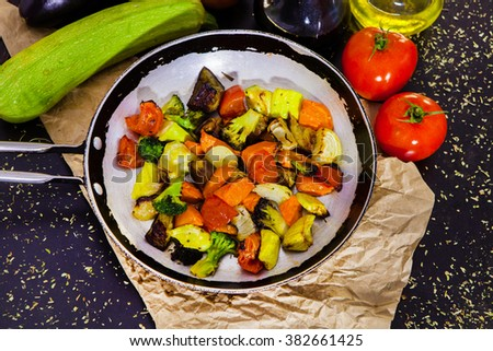Grilled fresh vegetables. Grilled mix of vegetables in a pan grill. fried vegetables. Vegatables salad. - stock photo