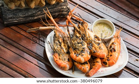 Grilled Giant River shrimp in the dish - stock photo