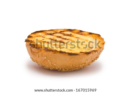Grilled Hamburger Bun Top isolated on white - stock photo