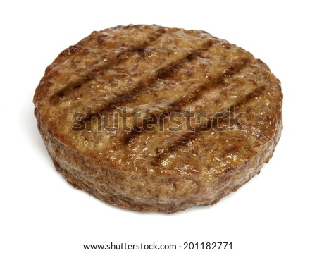 Grilled hamburger isolated on white background - stock photo