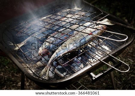Grilled horse mackerel fish in a summer barbecue - stock photo