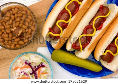 Grilled Hotdogs with Summer Time Sides on a Picnic Table - stock photo