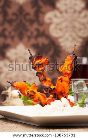 grilled indian tandoori chicken - stock photo