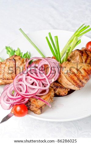 Grilled kebab meat with onion and tomato on a white plate - stock photo