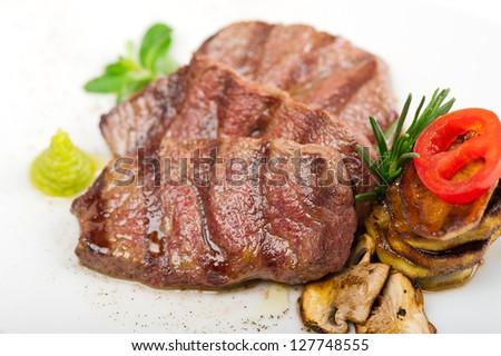 grilled Kobe Miyazaky beef with fresh vegetables - stock photo