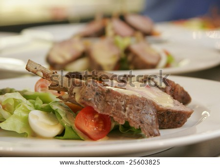 grilled lamb chops and vegetables - stock photo
