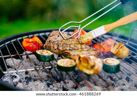 Grilled Lamb fillet on the barbecue grill