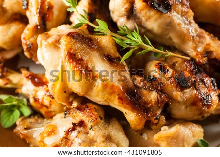 Grilled Lemon Garlic Chicken Wings Ready to Eat