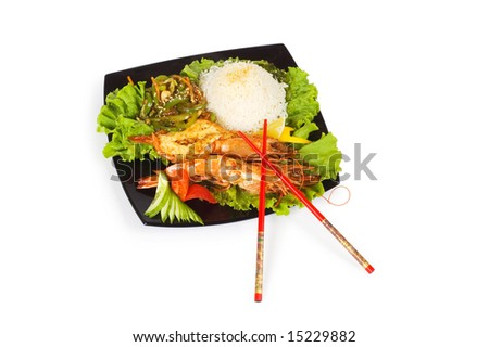 Grilled lobster, rice and vegetables isolated on white - stock photo