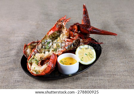 Grilled lobster with mayonnaise  - stock photo