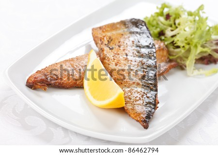 grilled mackerel - stock photo