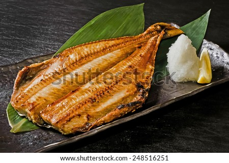 GRILLED MACKEREL  fish broiled with soy sauce - stock photo
