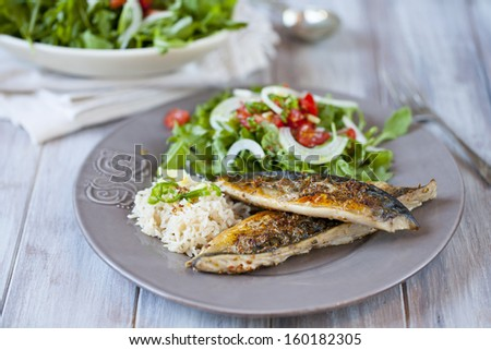 Grilled mackerel with rice and salad - stock photo