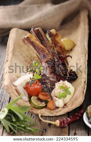 Grilled marinated lamb chops  - stock photo