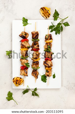 Grilled meat and vegetable kebabs on the white plate - stock photo