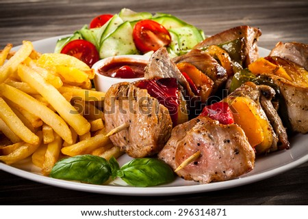 Grilled meat and vegetables  - stock photo