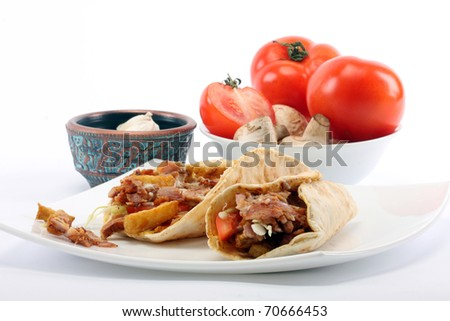 grilled meat and vegetables close up - stock photo