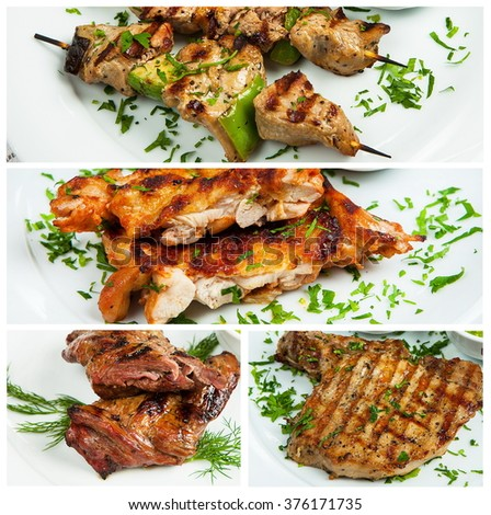 Grilled meat and vegetables. Collage of grilled meat.Collage from different photos of tasty grilled meat - stock photo