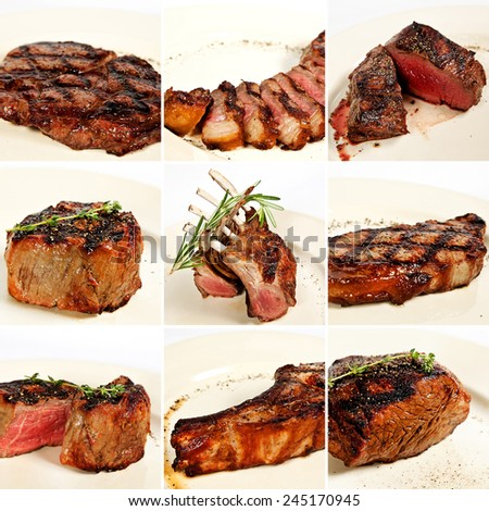 Grilled meat collage including new york steak, pork brisket, medium rare beef steak, filet mignon, rack of lamb, pork tenderloin, cowboy rib eye steak and beef fillet chateau - stock photo