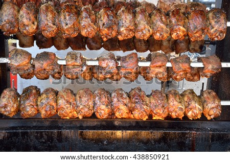 grilled meat cooked over a slow fire - stock photo