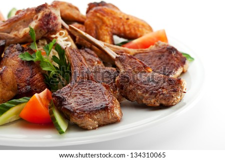 Grilled Meat Foods - stock photo