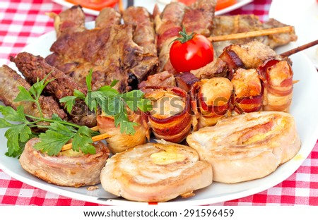 Grilled meat, grilled meat on plate - stock photo
