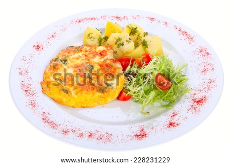 grilled meat on a plate garnished with fresh vegetables isolated on white background - stock photo