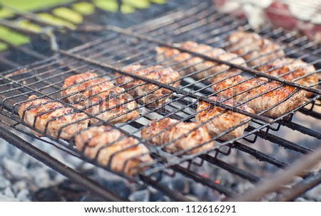 Grilled meat on grill