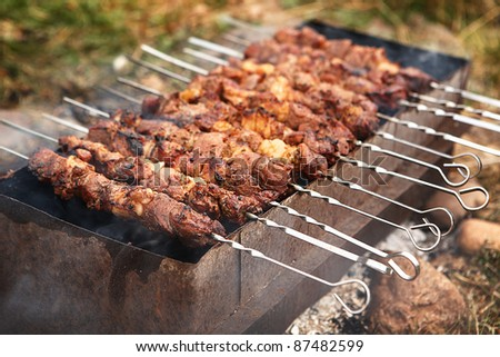 Grilled meat on the skewers. Outdoor . The summer./shashlik - stock photo