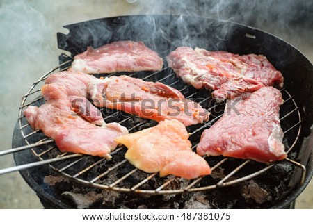 Grilled meat, pork, beef and chicken meat on barbecue, grill. Shallow depth of field.