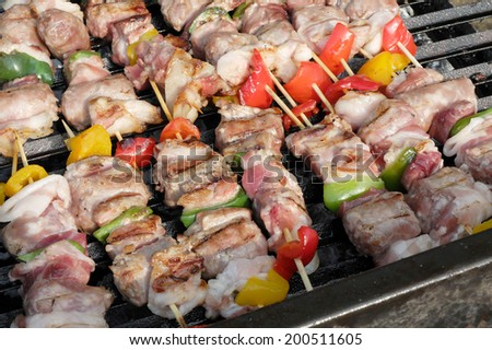 grilled meat skewers - stock photo