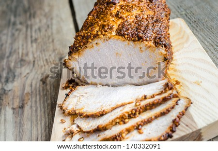 Grilled meat with dijon mustard - stock photo