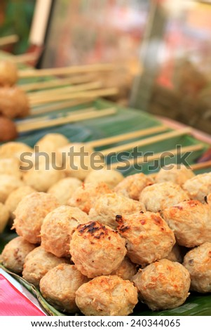 grilled meatballs in the market - stock photo